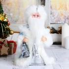 "Дед Мороз 30 см ""Шик"", голубая шубка и свеча"