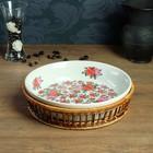Блюдо «Розы», с подставкой, 29,5×29.5×8 см, керамика, ротанг