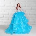 """Кукла на подставке """"Принцесса"""" голубое платье с воланами, фата"""