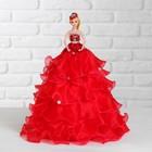 """Кукла на подставке """"Принцесса"""" красное платье с воланами"""