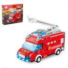 Конструктор блочный «Пожарный фургон», световые и звуковые эффекты, ездит, 60 деталей