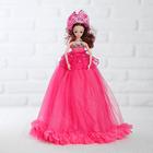 """Кукла на подставке """"Принцесса"""" музыкальная, платье цвет фуксии со стразами"""