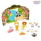 Магнитный набор с куклой, фоном и наклейками «На вечеринке у Полинки»