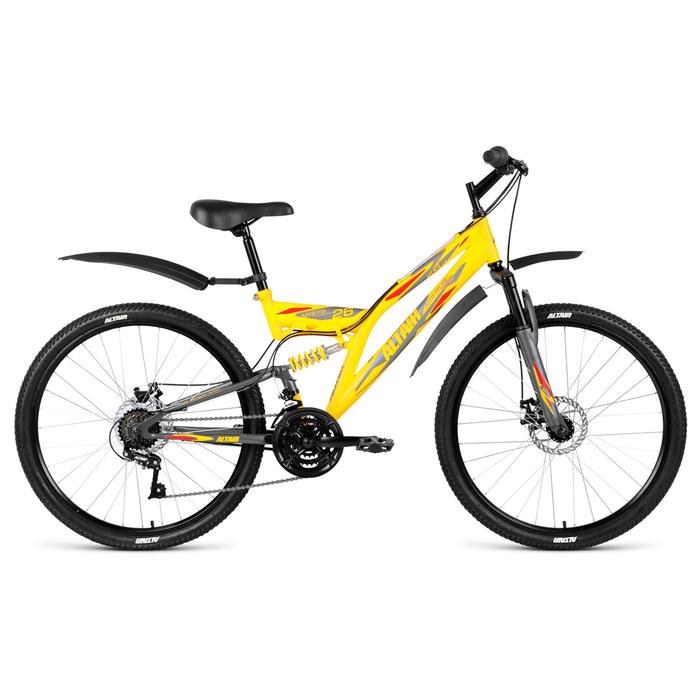 Велосипед 26 Altair MTB FS 26 2.0 disc, 2019, цвет жёлтый/серый мат., размер 18
