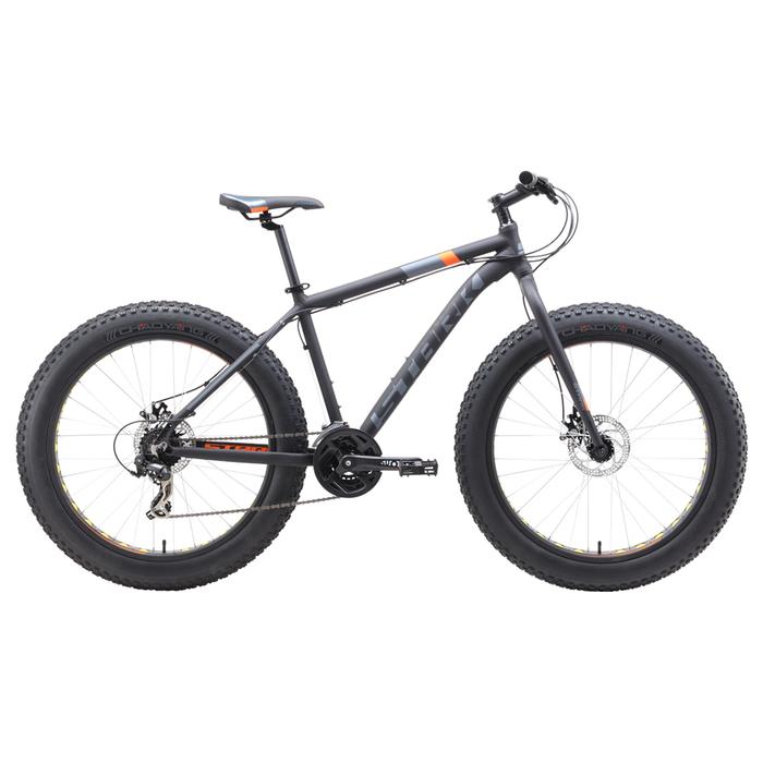 Велосипед 26 Stark Fat 2 D, 2019, цвет чёрный/оранжевый/серый, размер 20
