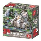 3D Пазл «Белые тигры Бенгалии», 63 элемента