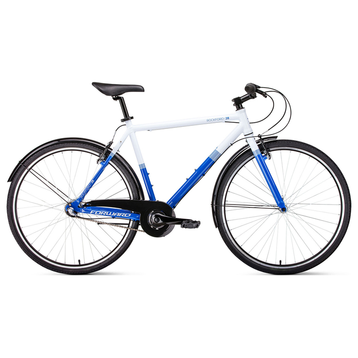 Велосипед 28 Forward Rockford, 2019, цвет белый/синий, размер рамы 540 мм