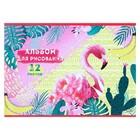 Альбом для рисования А4, 12 листов на скрепке «Фламинго в зарослях», обложка мелованный картон