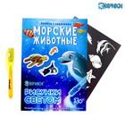 Активити-книжка с рисунками светом «Морские животные»