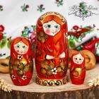 """Матрешка 3кукольная """"Красное с золотом"""", 11 см"""