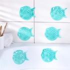 Набор мини-ковриков для ванны «Рыбка-шар», 10×11 см, 4 шт, цвет жёлтый