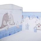 Бортик в кроватку «Птички», размер 40х360 см, цвет голубой, бязь