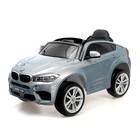 """Электромобиль """"BMW X6M"""", окраска глянец серебро, EVA колеса, кожаное сидение"""