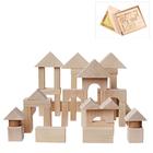 Деревянный конструктор, неокрашенный, 51 деталь, в деревянном ящике