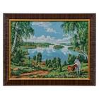 """E051-30x40 Картина из гобелена """"Озеро с березками и пара лошадей"""" (35х45)"""