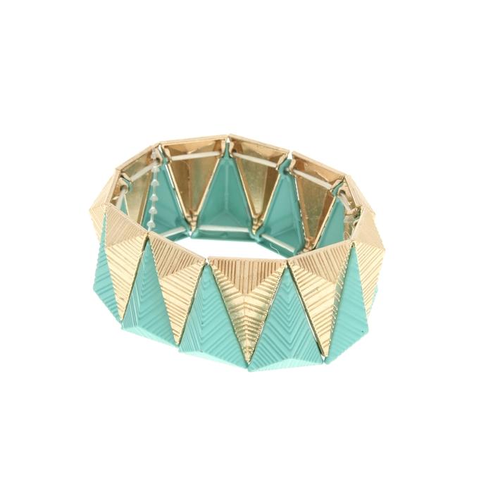 Браслет металл Летний шик треугольники, цвет мятно-золотой