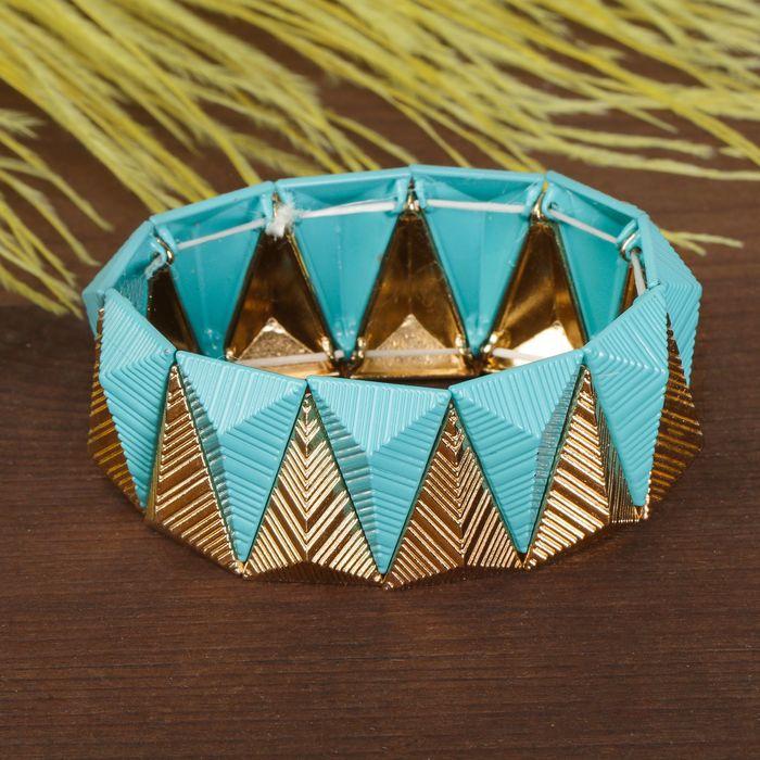 Браслет металл Летний шик треугольники, цвет голубо-золотой
