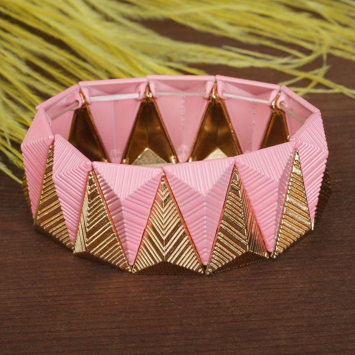 Браслет металл Летний шик треугольники, цвет розово-золотой