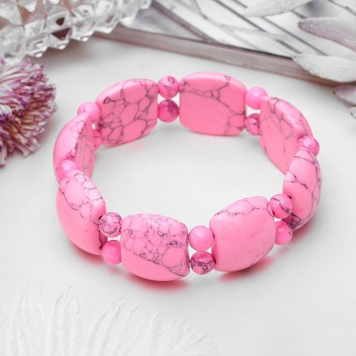 Браслет пластина через два шарика Агат розовый