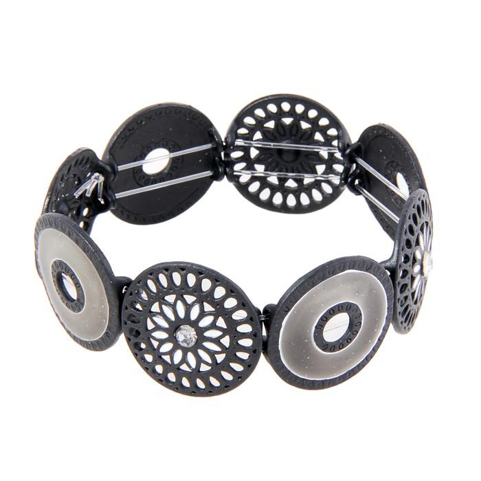 Браслет с эмалью Оазис, цвет чёрно-серый