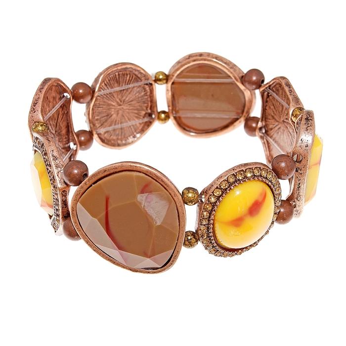Браслет пластик Каскад камней, цвет жёлто-коричневый