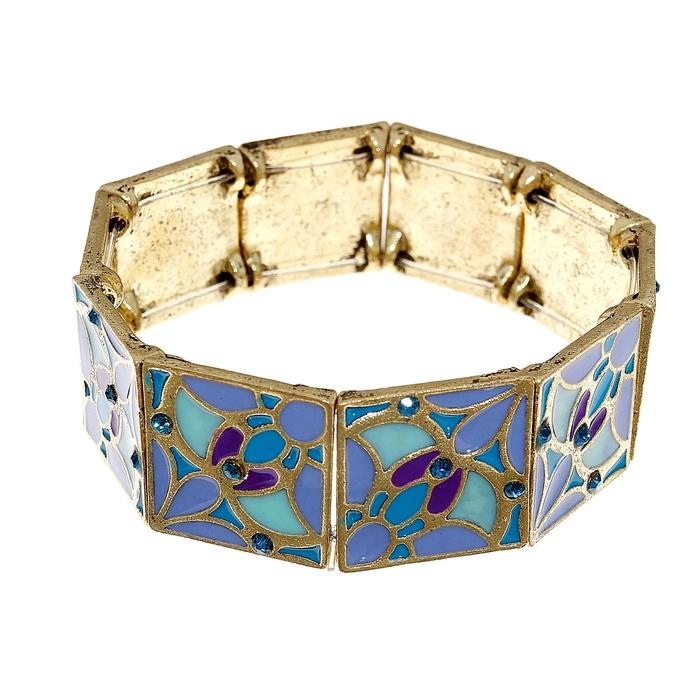 Браслет с эмалью Мозаика, цвет голубо-фиолетовый