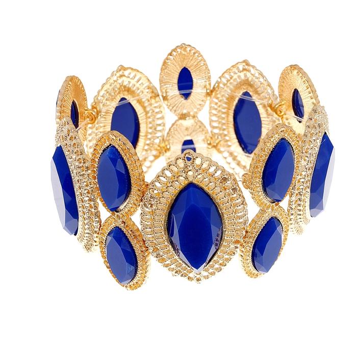 Браслет пластик Дамский каприз, цвет тёмно-синий в золоте