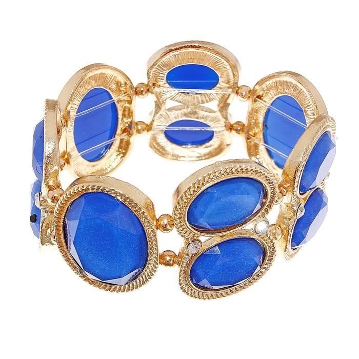 Браслет ассорти Овальный стиль, цвет синий
