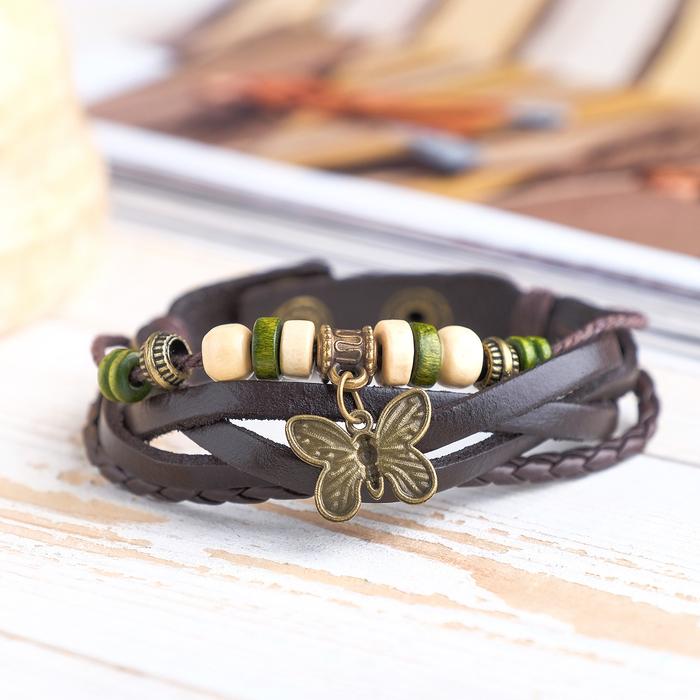 Браслет кожа Бабочка малая хиппи, цвет тёмно-коричневый