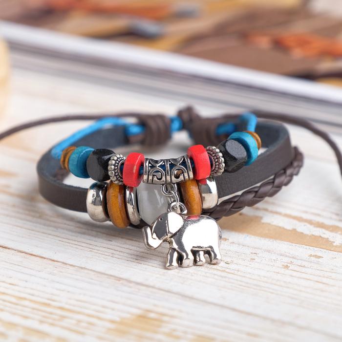 Браслет кожа Хиппи индийский слон, цвет коричнево-голубой