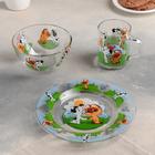 "Набор посуды ""Котенок по имени Гав"", 3 предмета: кружка 200 мл, салатник 300 мл, тарелка 20 см"