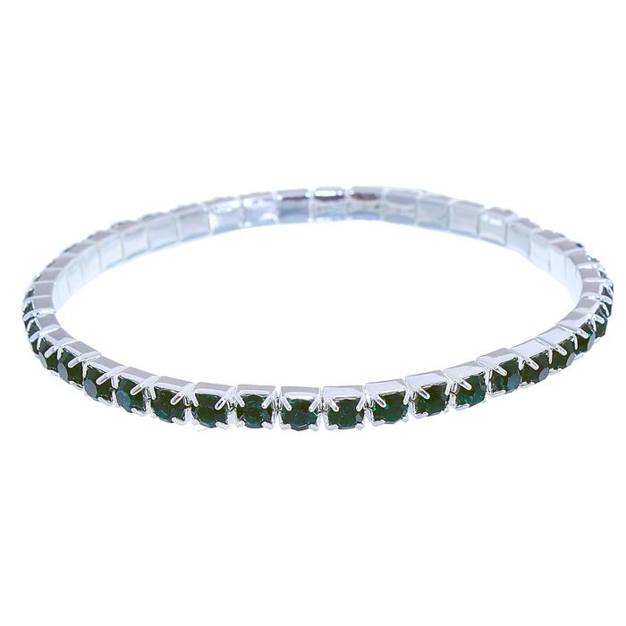 Браслет со стразами Лёд 1 ряд, цвет зелёный, 4 мм