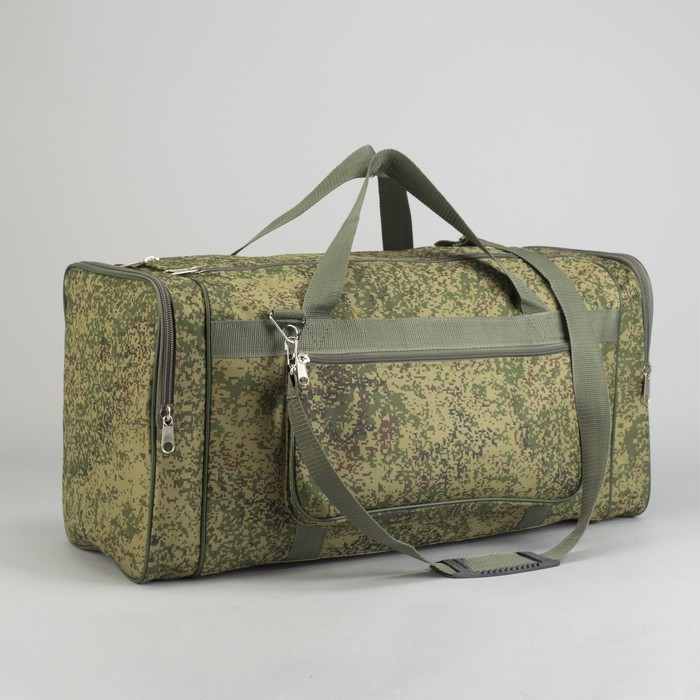 Сумка дорожная на молнии Камуфляж, 1 отдел, 3 наружных кармана, длинный ремень, цвет хаки