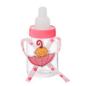 """Бонбоньерка """"Бутылочка"""" с малышом в зонтике, цвет розовый"""