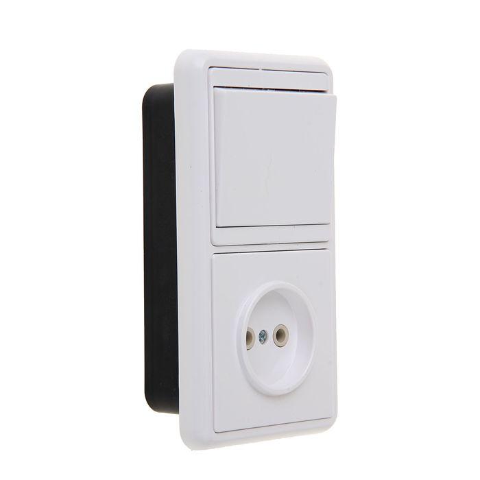 Блок Кунцево 5815 Бэлла БКВР-037, 1 клавиша, с розеткой, белый